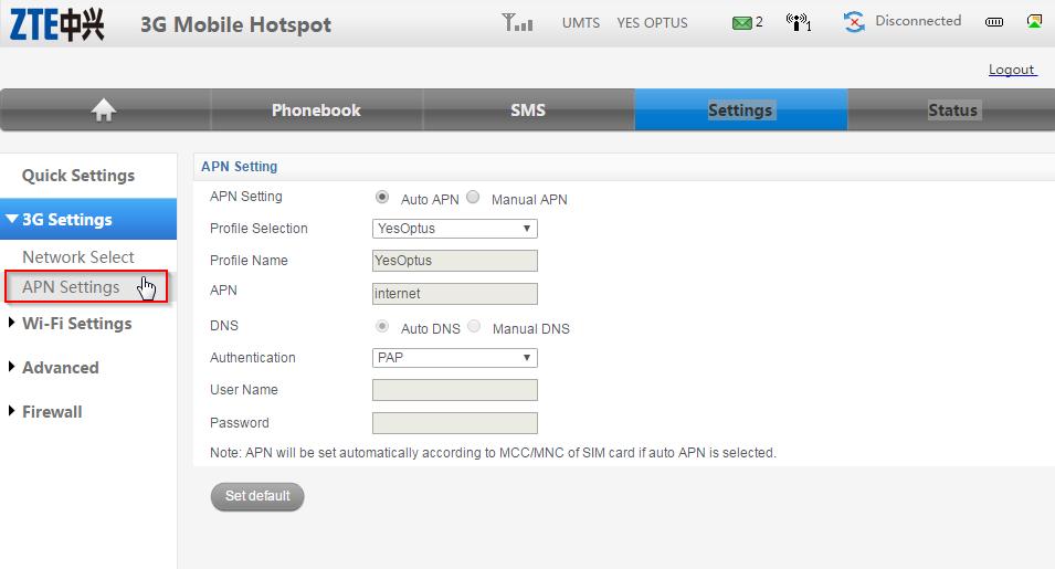 ZTE MF60 Dashbaord Optus Mobile Hotspot - APN settings