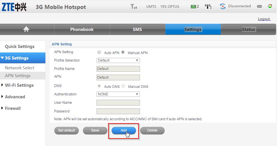 ZTE MF60 Dashboard Optus Mobile Hotspot - Manual APN settings Add