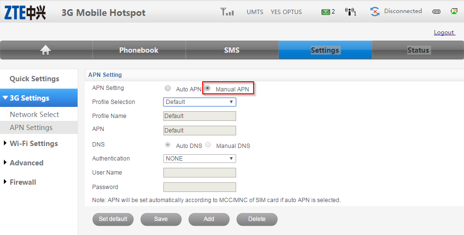 ZTE MF60 Dashboard Optus Mobile Hotspot - Manual APN settings
