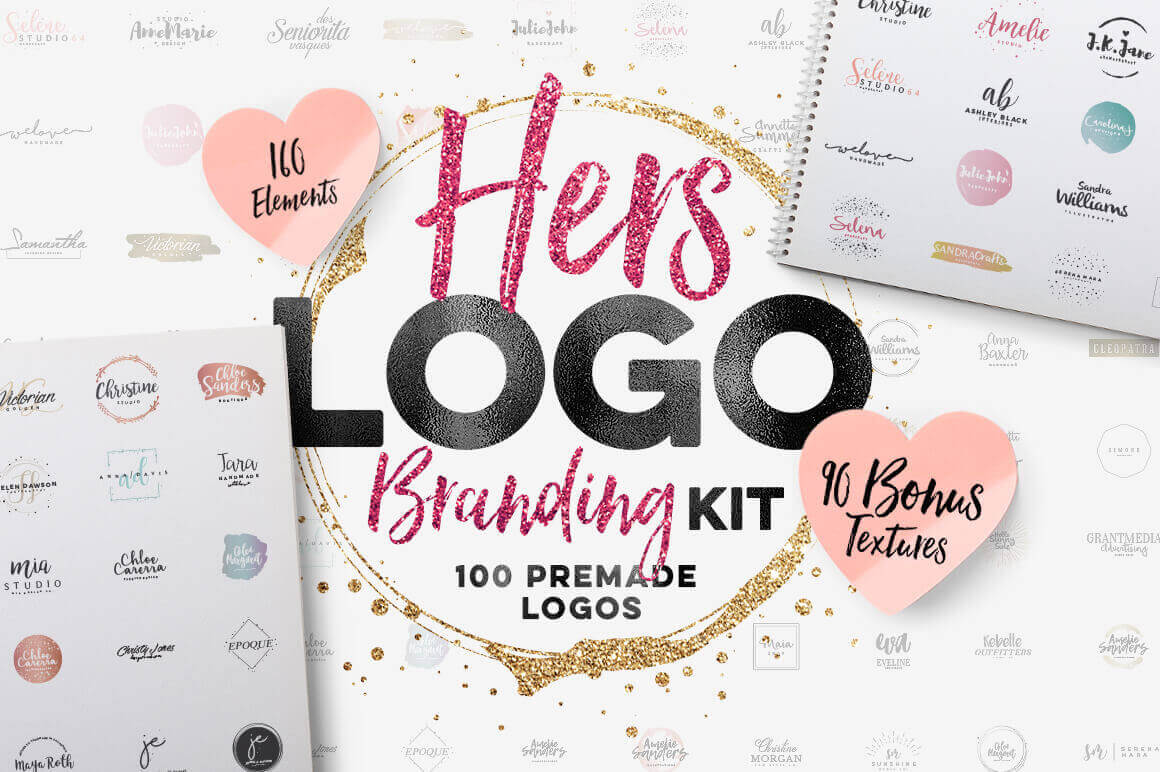"""HERS"" Logo Branding Kit: 100 Logos + 160 Vectors – only $9!"