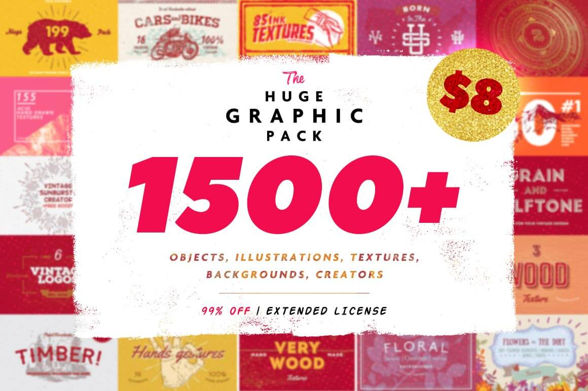 1500+ Design Elements in 1 Huge Graphic Pack – only $8!