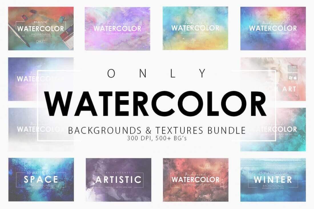 Bundle: 500+ Gorgeous, Hi-Res Watercolor Backgrounds – only $14!