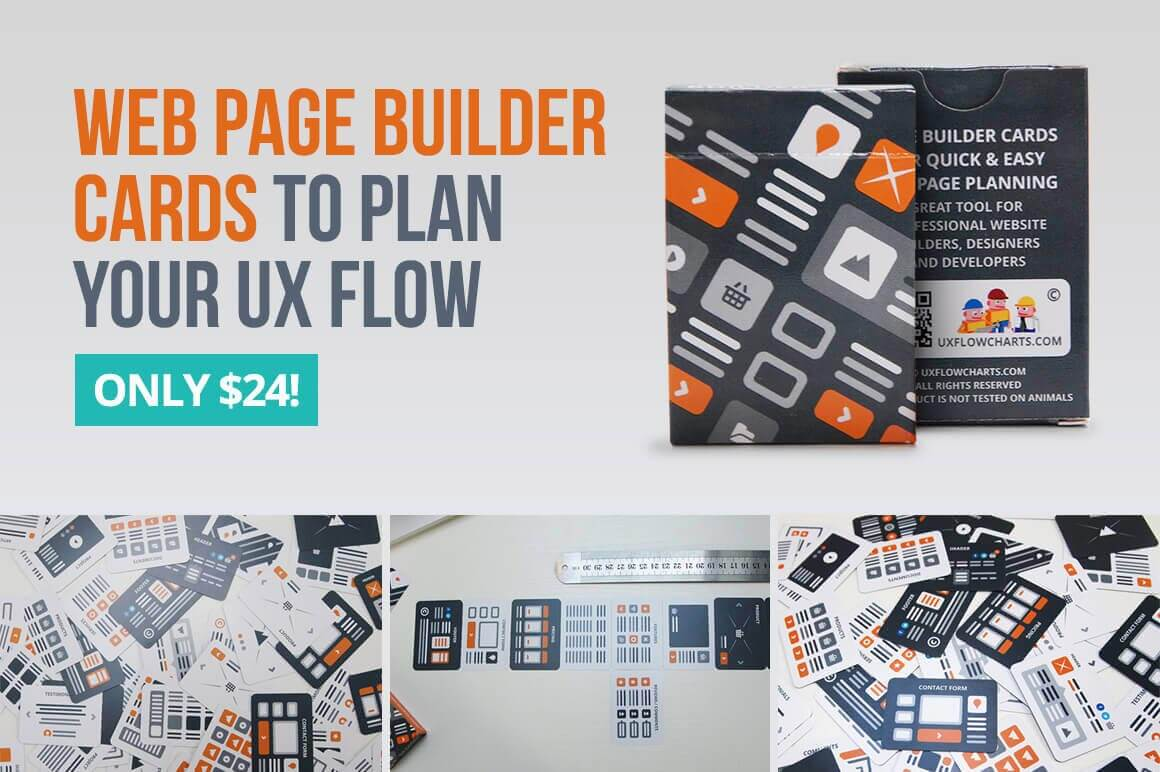 Useful Web Page Builder Cards to Plan Your UX Flow – only $24!