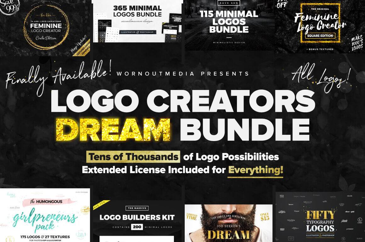 1,000+ Logo Templates from WornOutMedia – only $24!