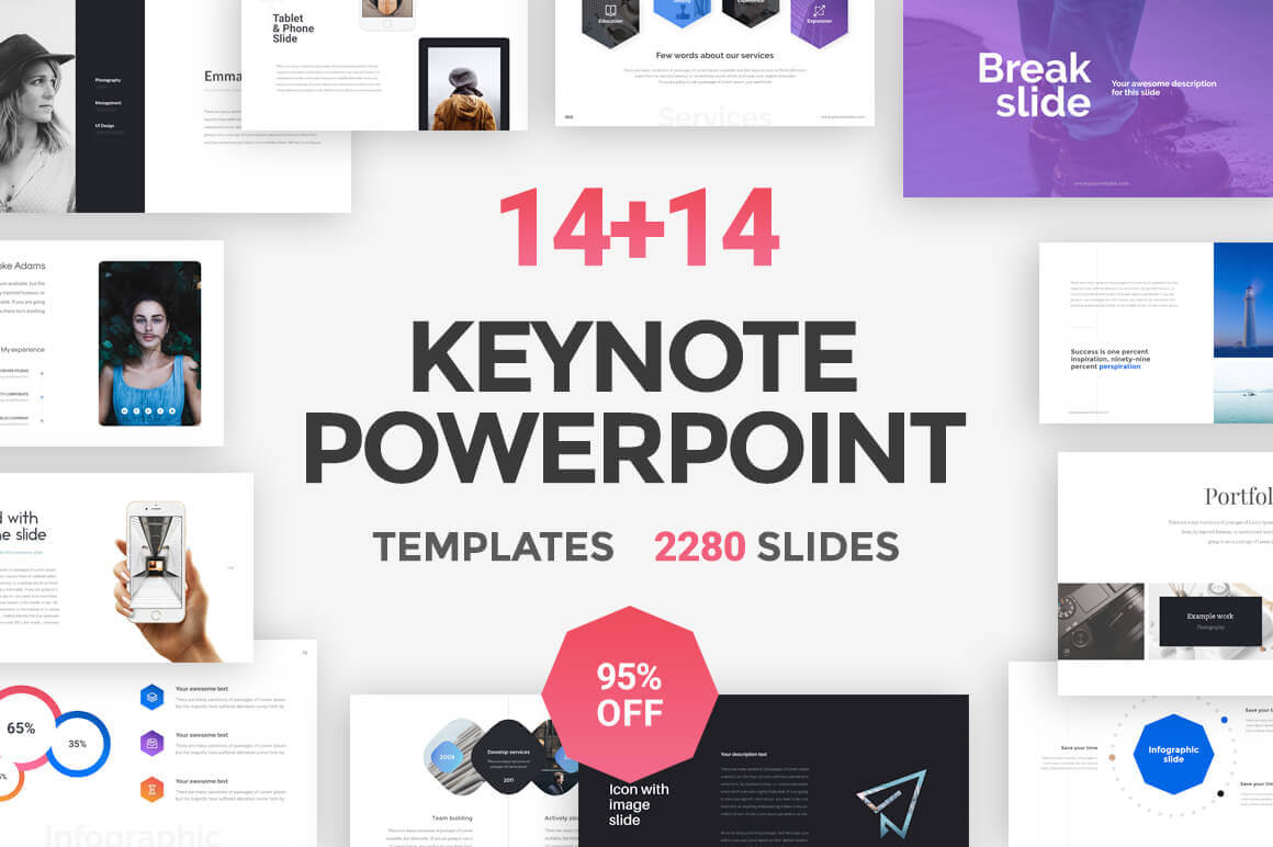 14 PowerPoint + 14 Keynote Templates (with 2