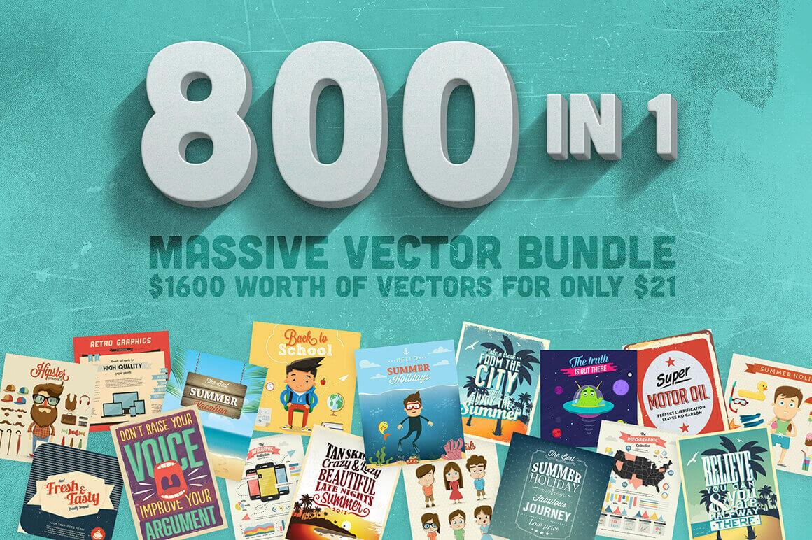 BUNDLE: 800 Gorgeous Premium Vector Files – only $21!