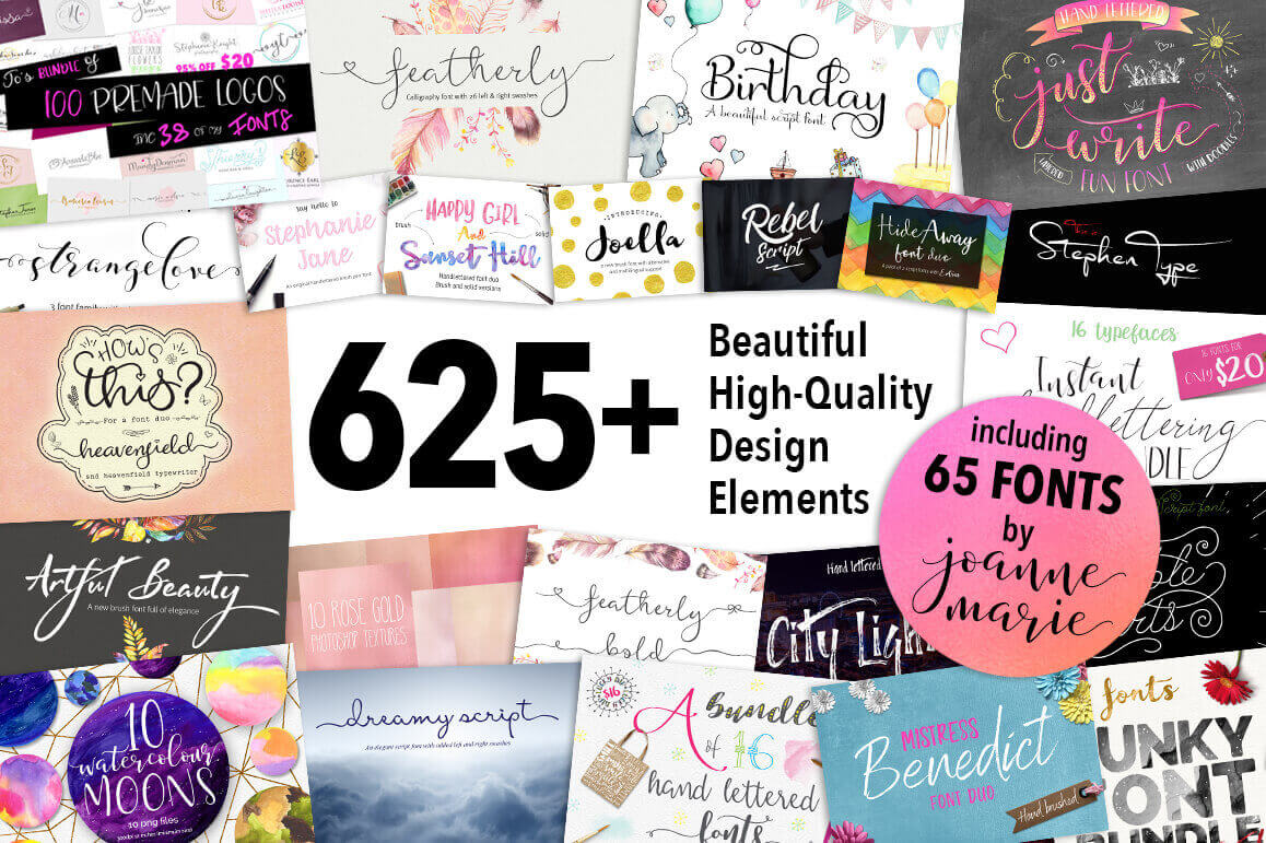 Bundle: 625+ Beautiful High-Quality Design Elements and Fonts – only $21!