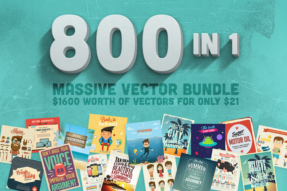 Bundle of 800 Gorgeous Premium Vector Files – only $21!