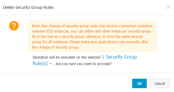 Business Legions Alicloud - Delete Security Group Rules Confirmation