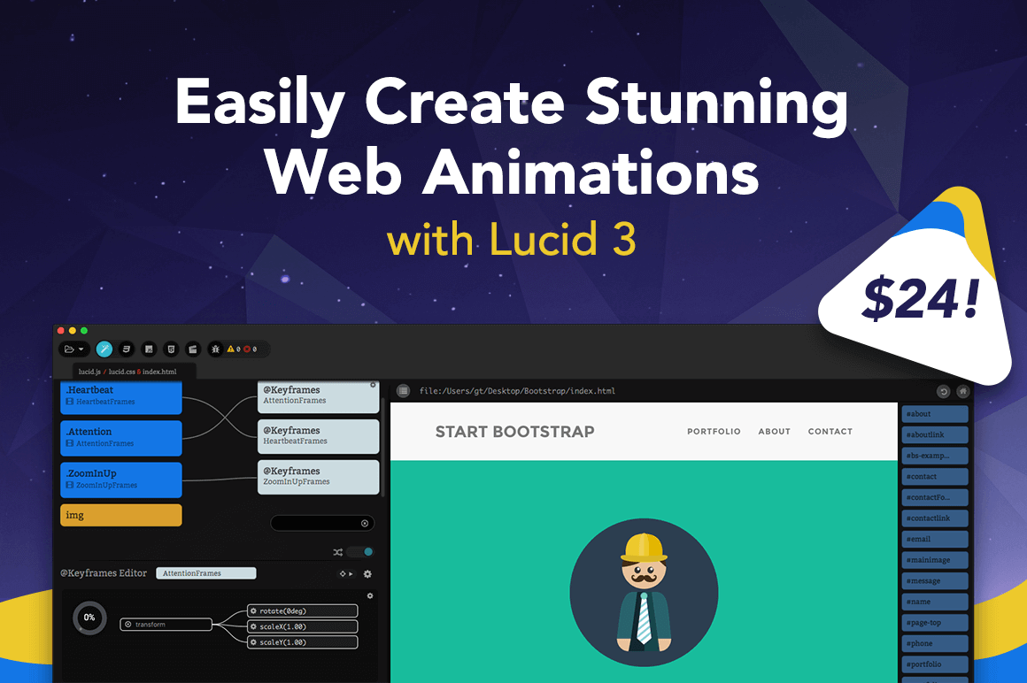Easily Create Stunning Web Animations with Lucid 3 – only $24!