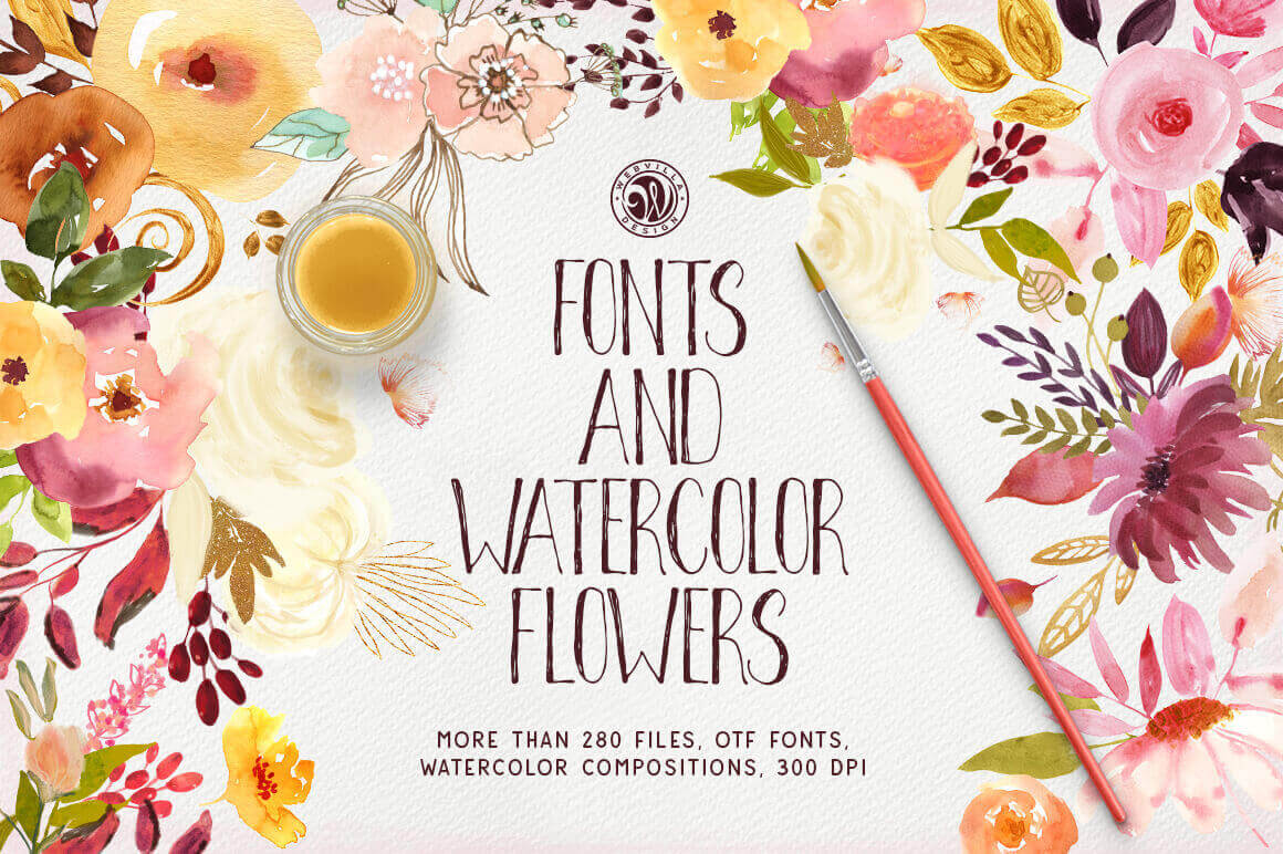 280+ Beautiful Hand Drawn Fonts and Watercolor Flowers – only $19!