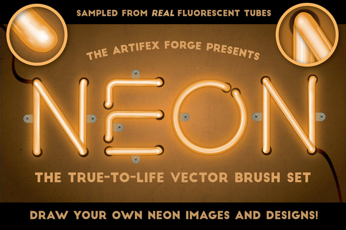 28 Realistic Neon Vector Illustrator Brushes from Artifex Forge  – only $7!