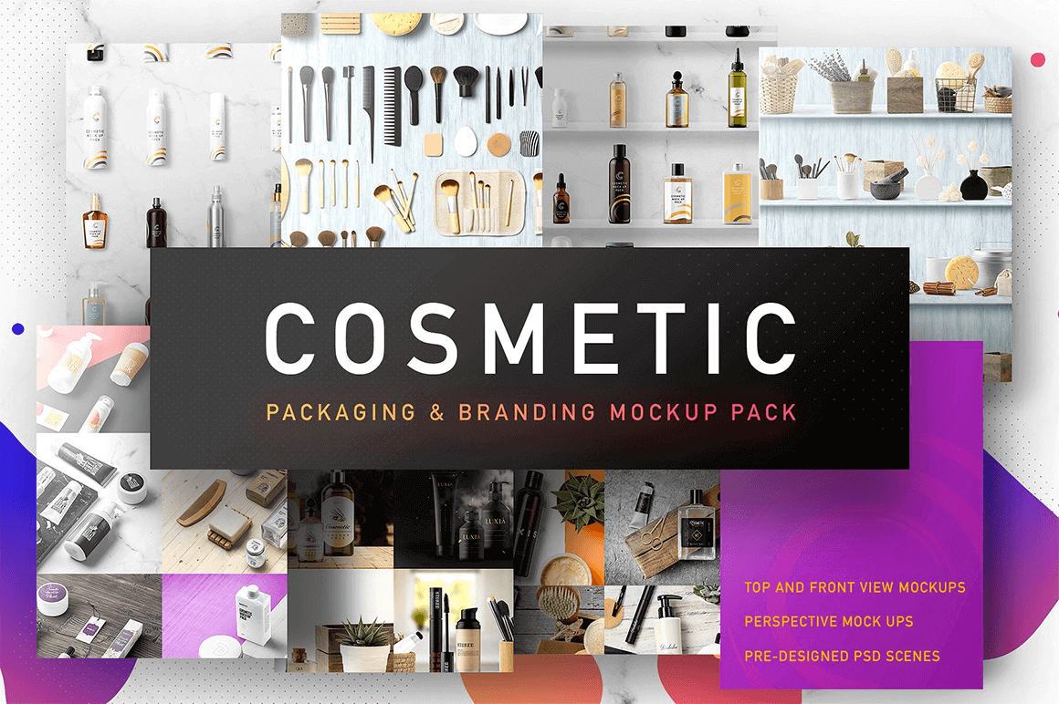 350+ Cosmetic Packaging & Branding Mockup Elements - only $18!