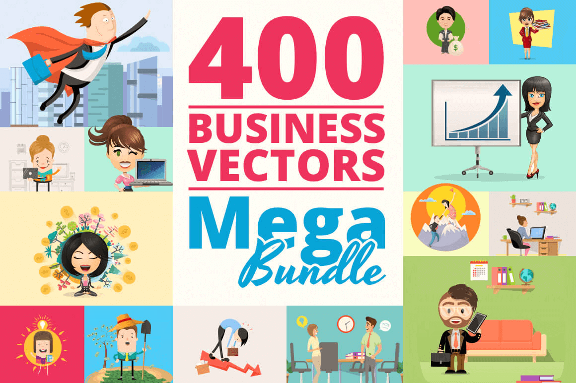 400 Customizable Business Vectors – only $28!