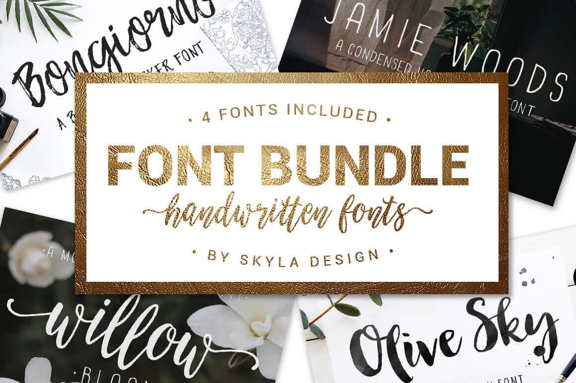 4 Beautiful, Handwritten Fonts from Skyla Design – only $15!