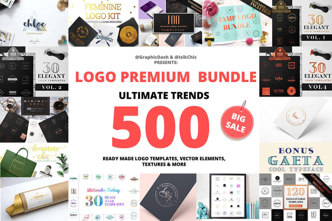 500 Premium Logo Templates with Vectors and Textures – only $15!