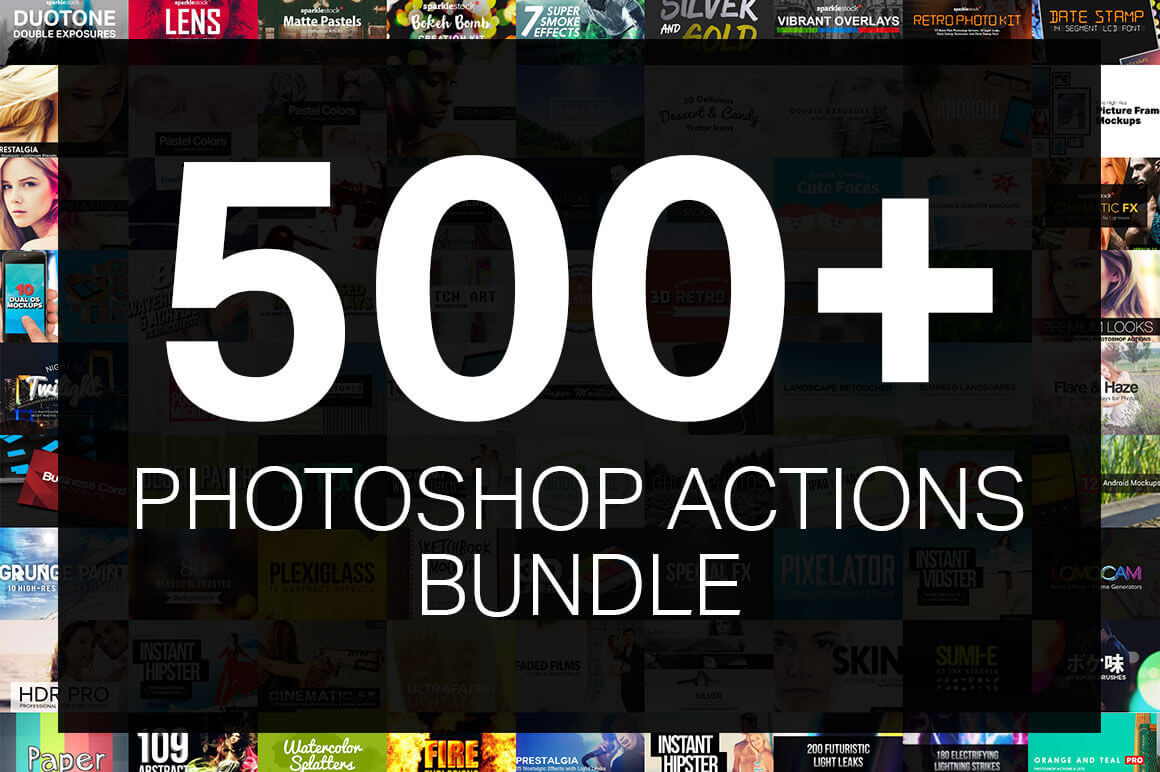 500+ Professional Photoshop Actions – 90% off!