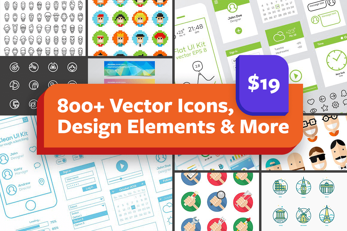 800+ Vector Icons, Design Elements & More – only $19