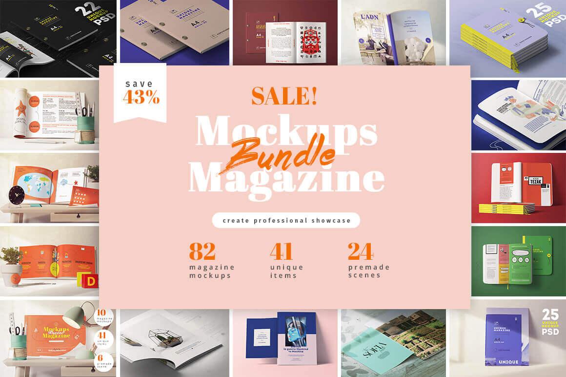 Bundle: 82 Hi-Res Magazine Mockups – only $16!