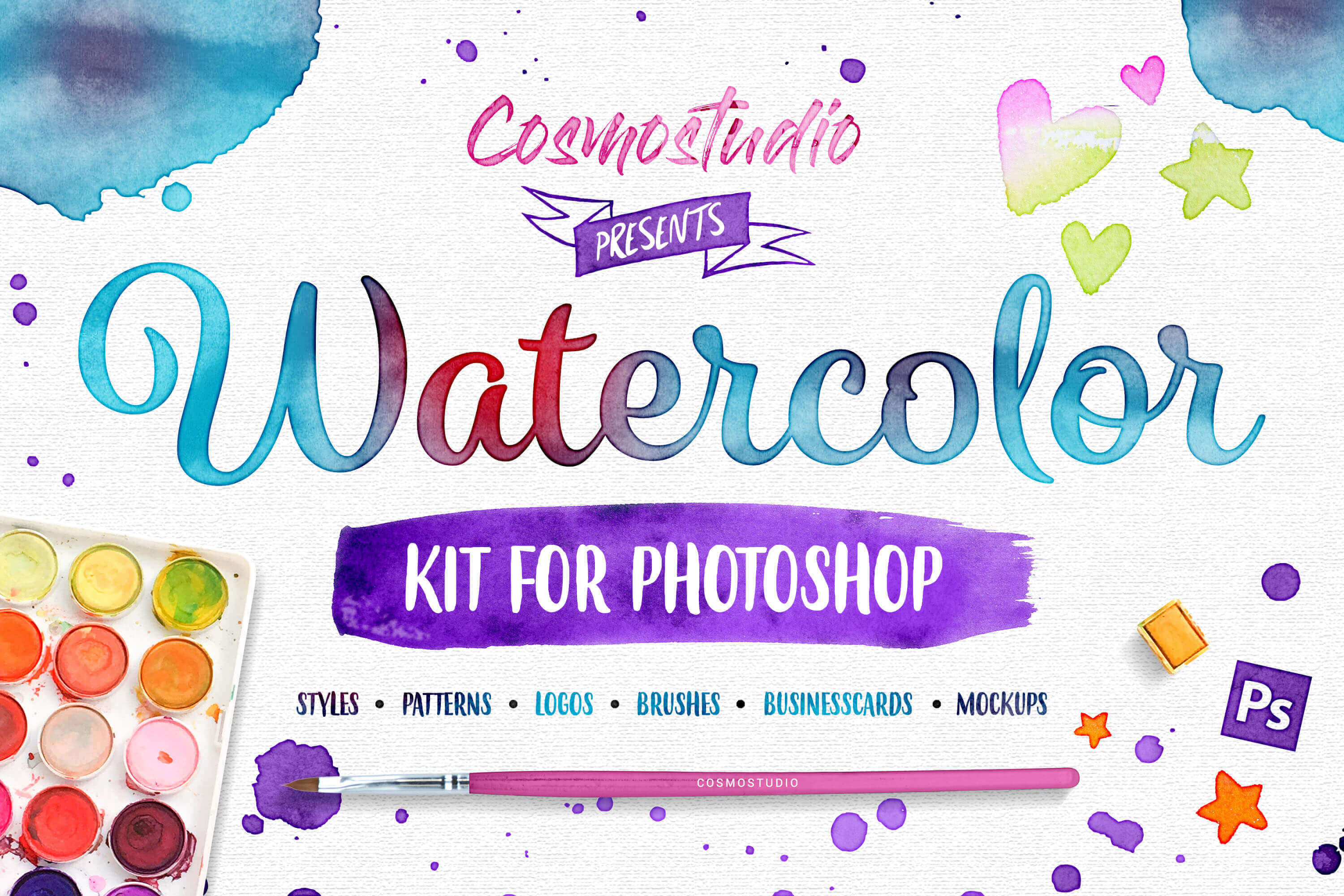 Gorgeous Watercolor Kit for Photoshop – only $9!