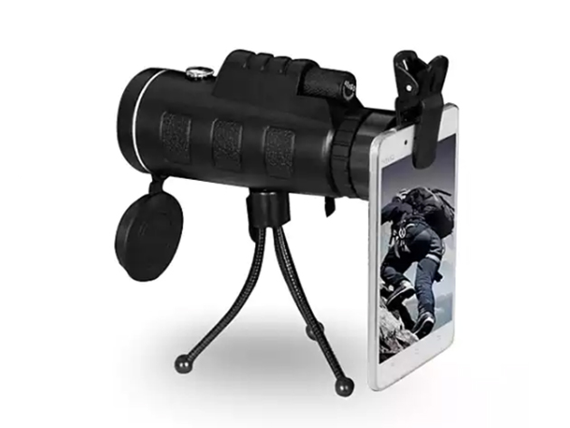 Zoomable 60X Monocular with Smartphone Attachment for $29