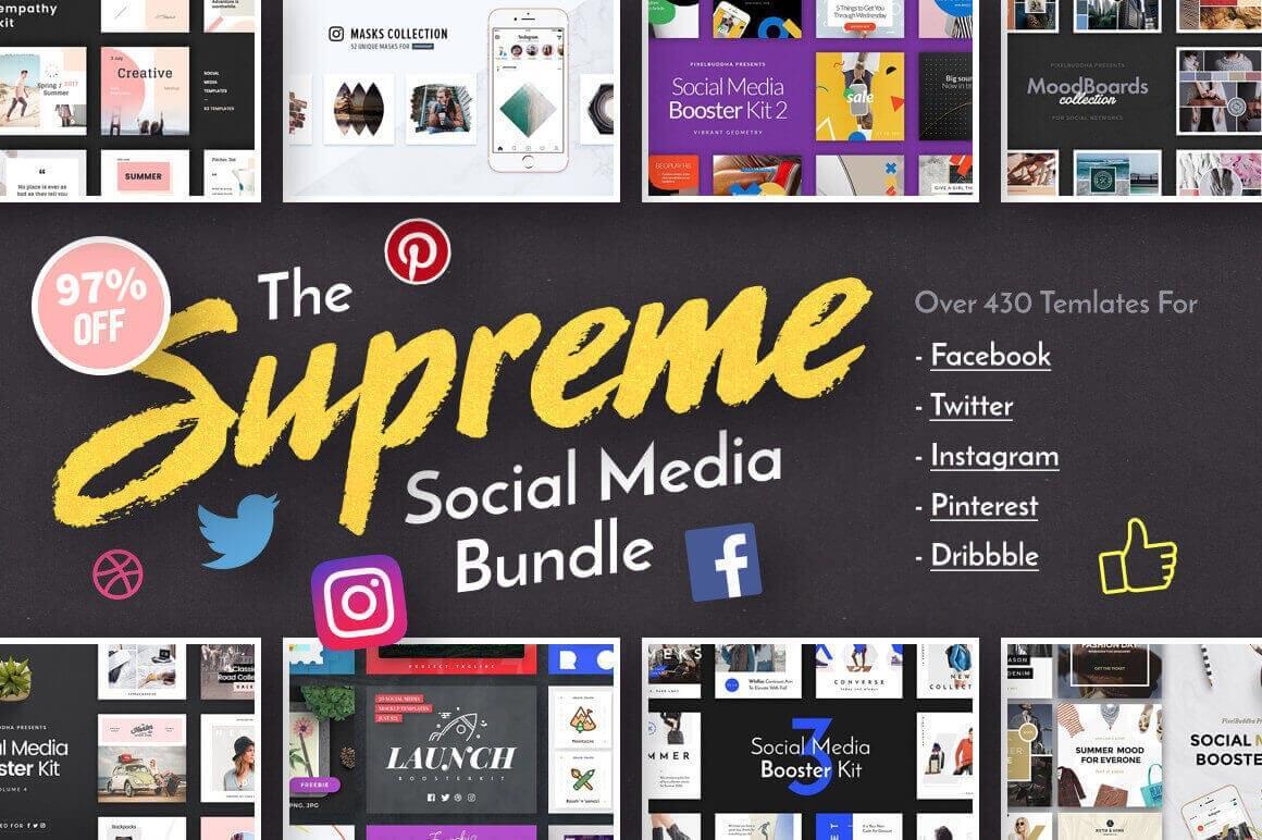 168 Social Media Templates for Facebook, Instagram, Twitter & Pinterest – only $24!
