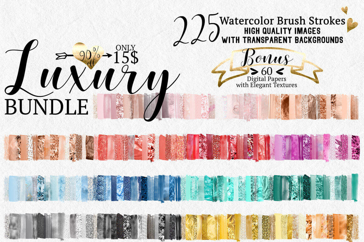 225 Gorgeous Watercolor Brush Strokes & 60 Digital Papers – only $15