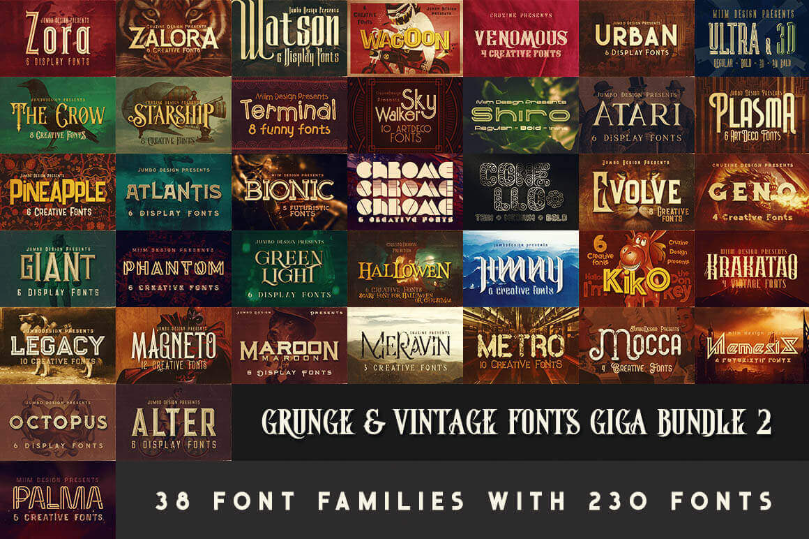 230 Grunge, Retro and Vintage Fonts with Extended License – only $29!