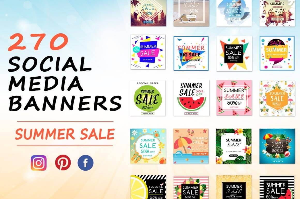 250+ Summer Sale Banners for Social Media – only $19!