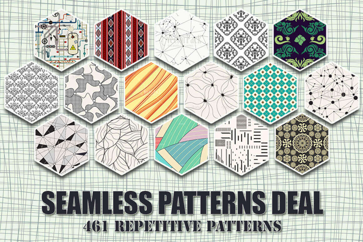 460 Seamless Patterns from Waves to Pipes – only $23!