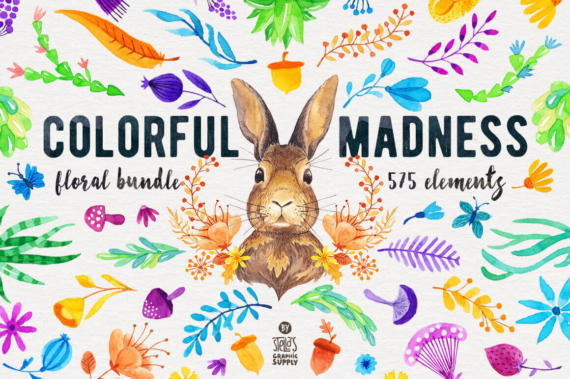 575 Breathtaking Watercolor Floral Elements – only $9!
