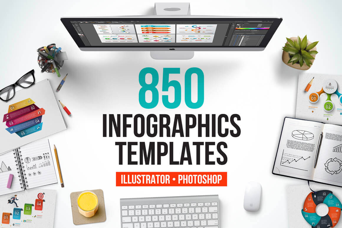 850 Quality, Customizable Infographics Templates – only $19!