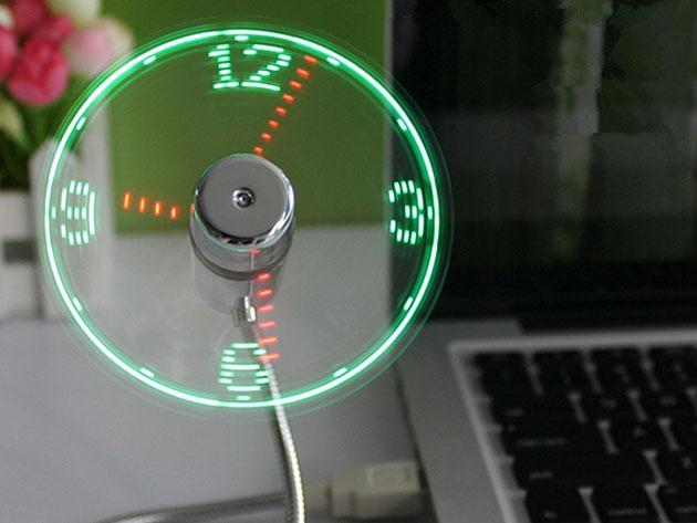 USB LED Clock Fan for $10