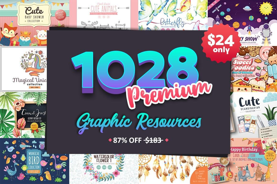 1,000+ Adorable Premium Graphic Resources – only $24!