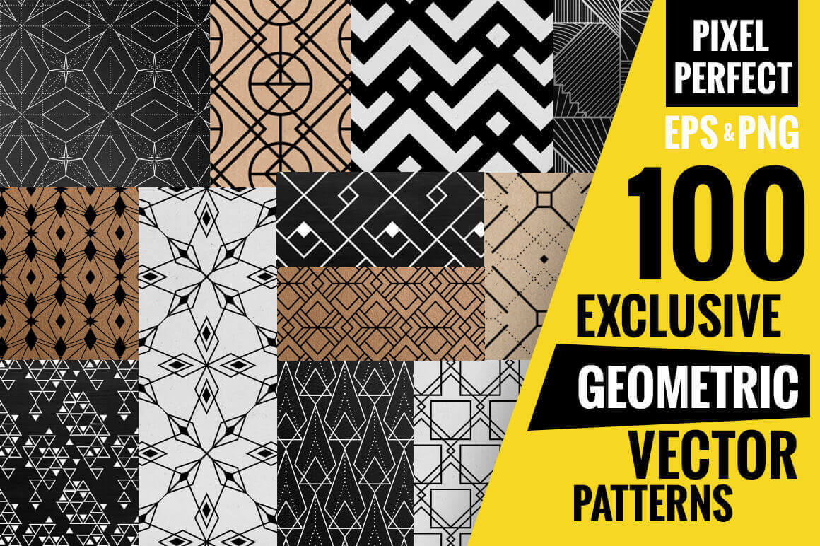 100 Exclusive Geometric Vector Patterns – only $12!
