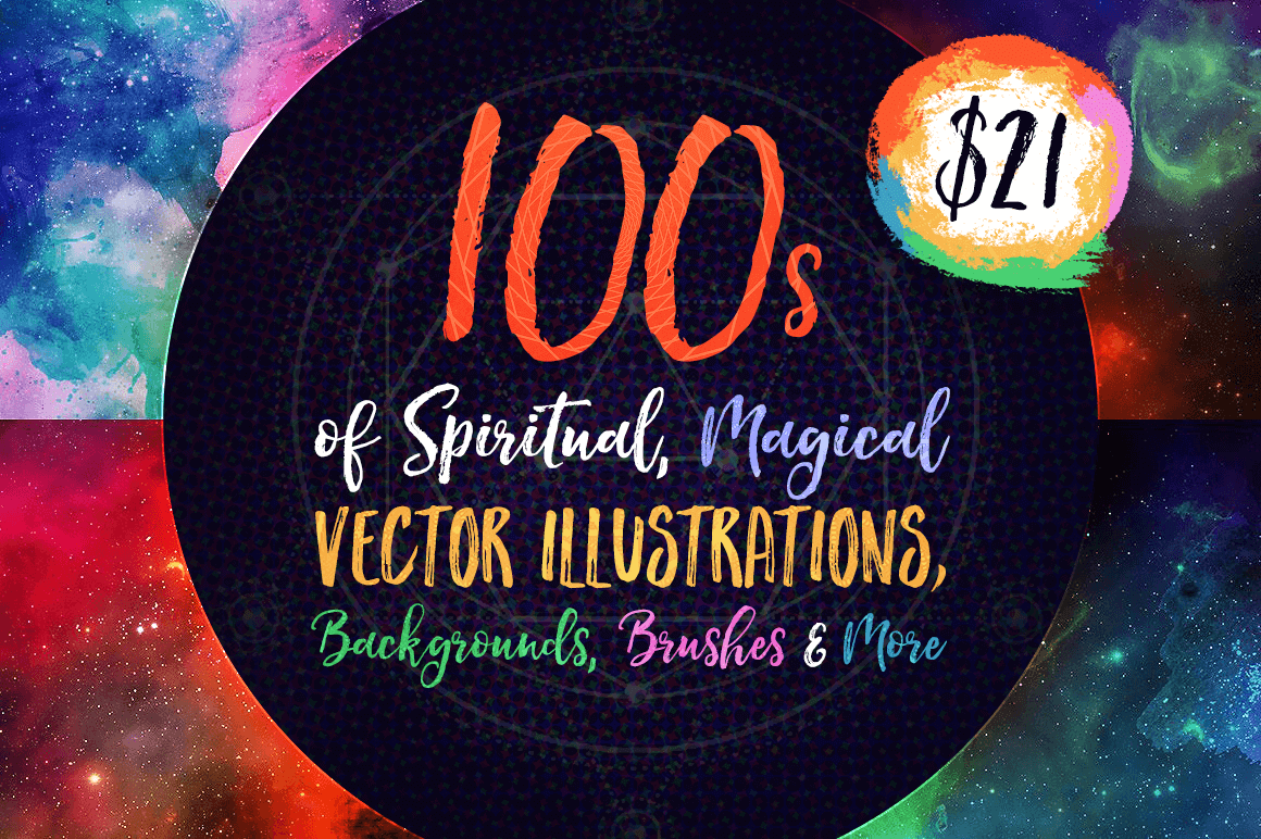 100's of Spiritual, Magical Vector Illustrations, Backgrounds, Brushes & More – only $21!