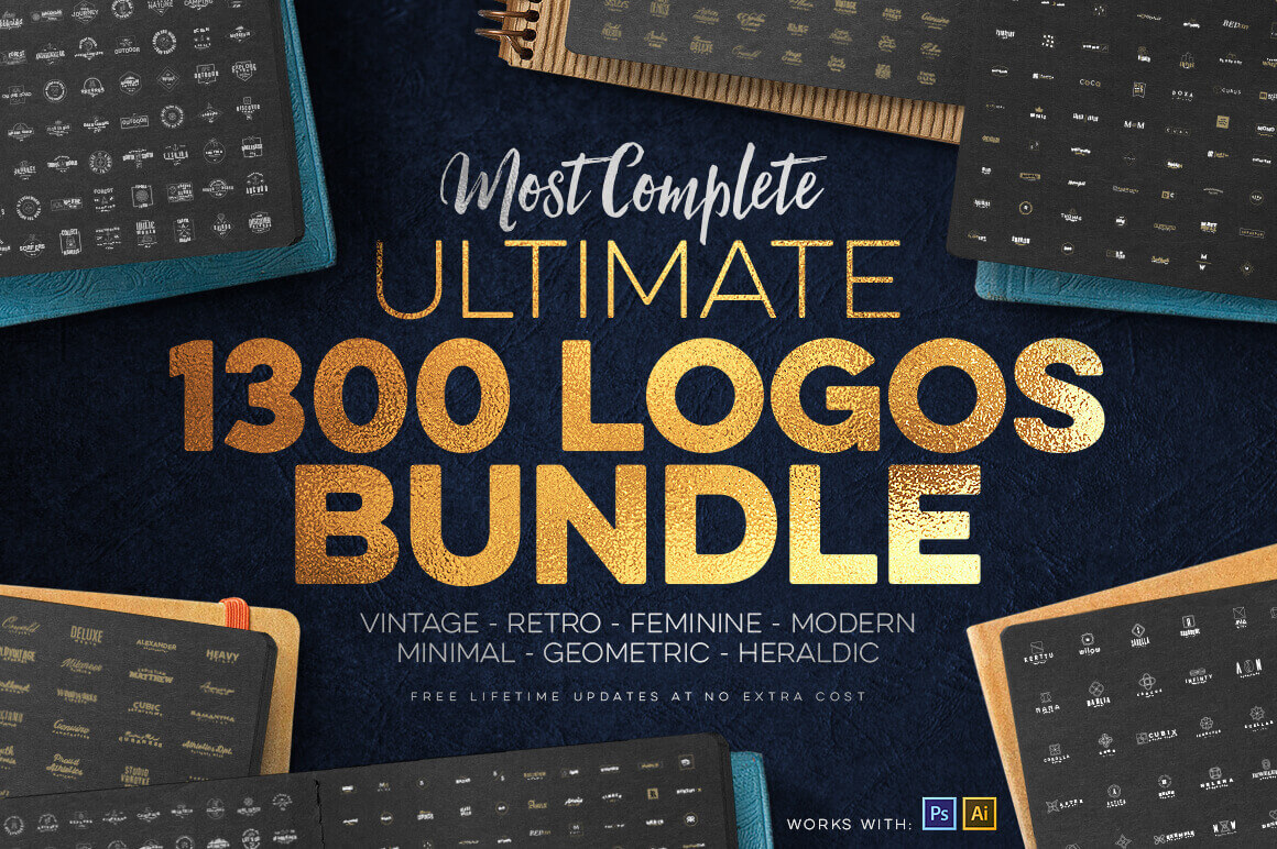 1,300+ Premium Logo Templates: Vintage, Modern & More – only $14!