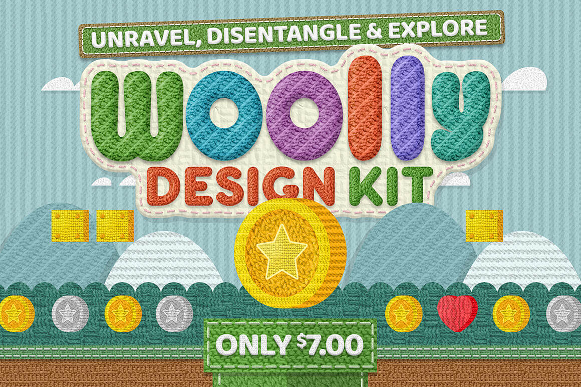 65 Hand-Knitted Wool & Yarn Inspired Textures – only $7!