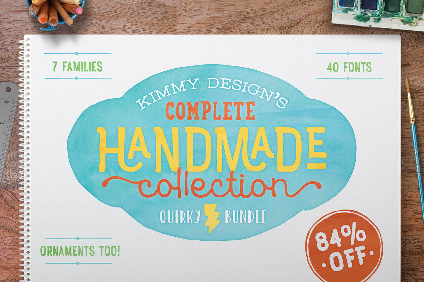 Collection of 40 Unique Handmade Fonts from Kimmy Design – only $17!