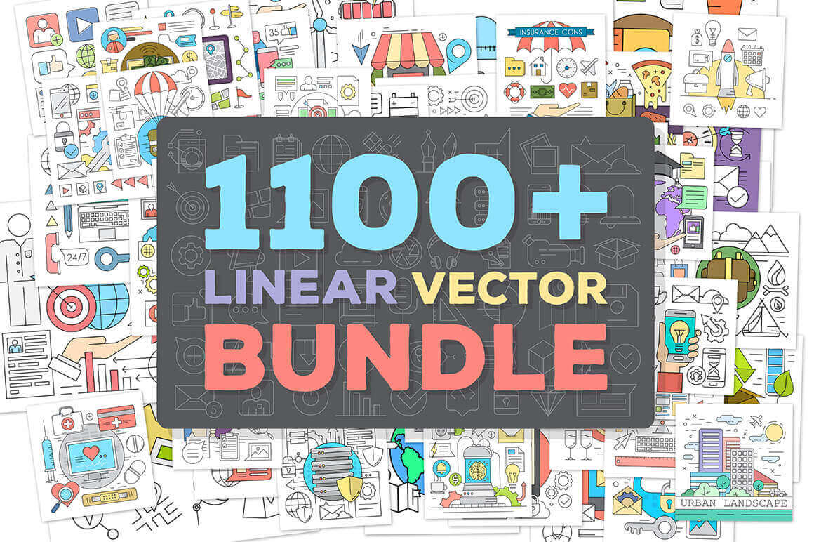 1100+ Premium Linear Vector Elements – only $12!