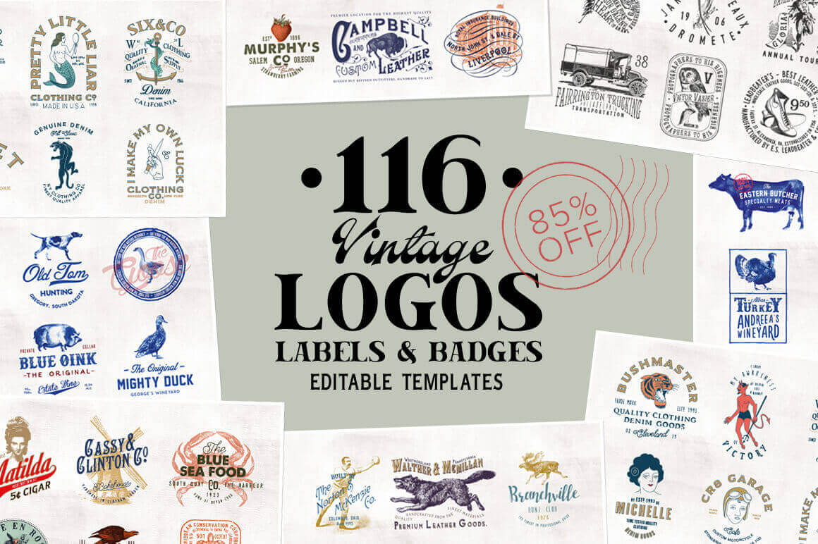 115+ Vintage Logo Templates & Photo Mockups – only $16!