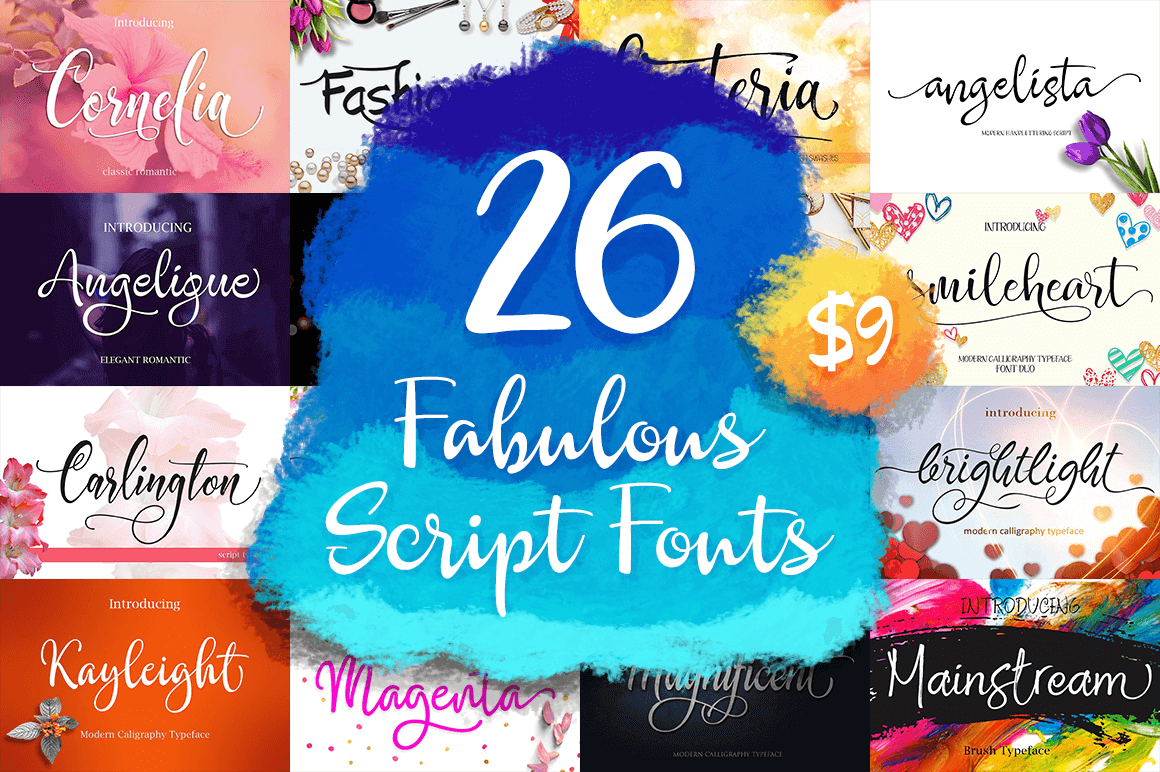 26 Fabulous Scripts Fonts – only $9!