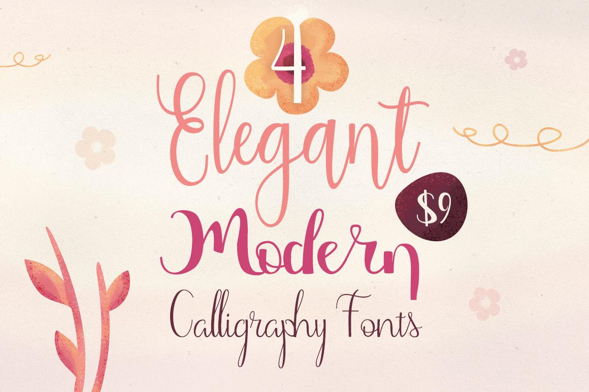 4 Elegant, Modern Calligraphy Fonts – only $9!