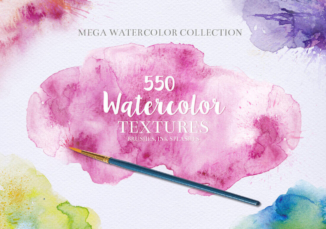 550+ Watercolor Textures, Backgrounds & Elements – only $17!
