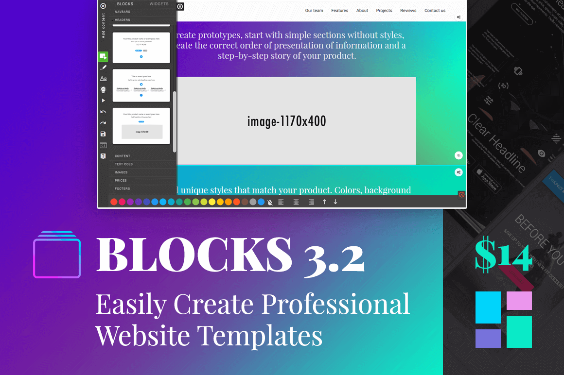 The Amazing New BLOCKS 3.2: Easily Create Professional Website Templates – only $14!