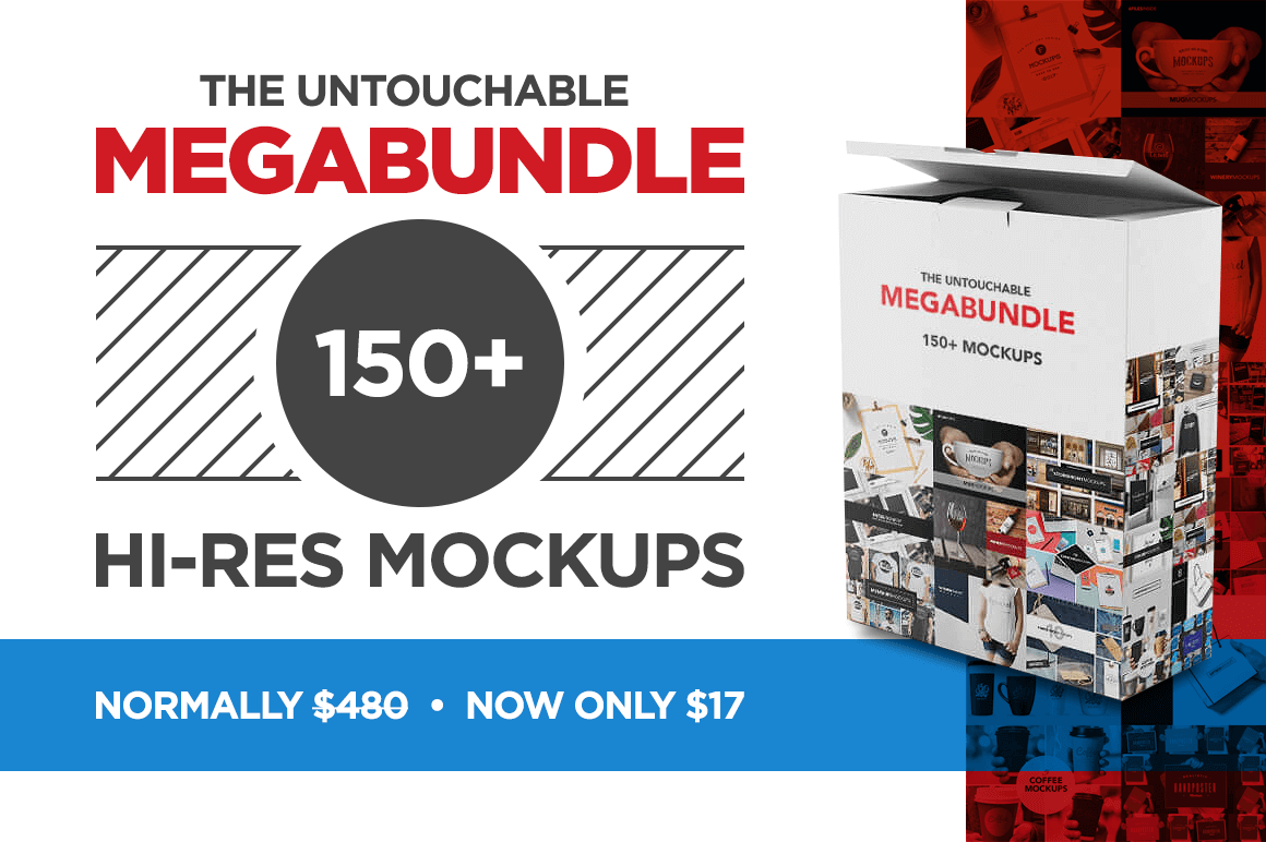 The Untouchable MegaBundle: 150+ Hi-Res Mockups – only $17!