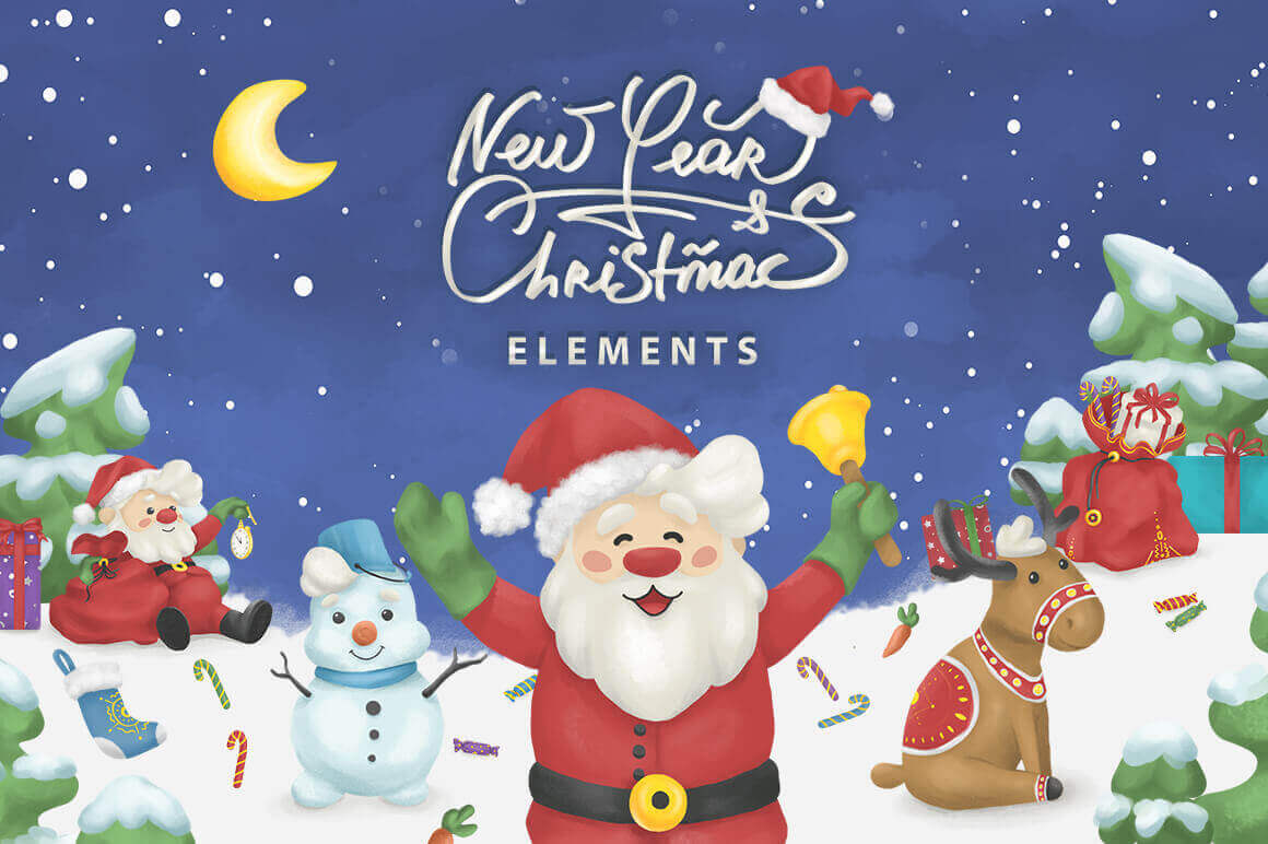 150+ Christmas & New Year Illustrations, Stickers & Design Elements – only $19!