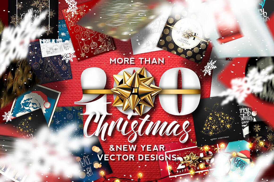 400+ Christmas and New Years Vector Designs – only 19!