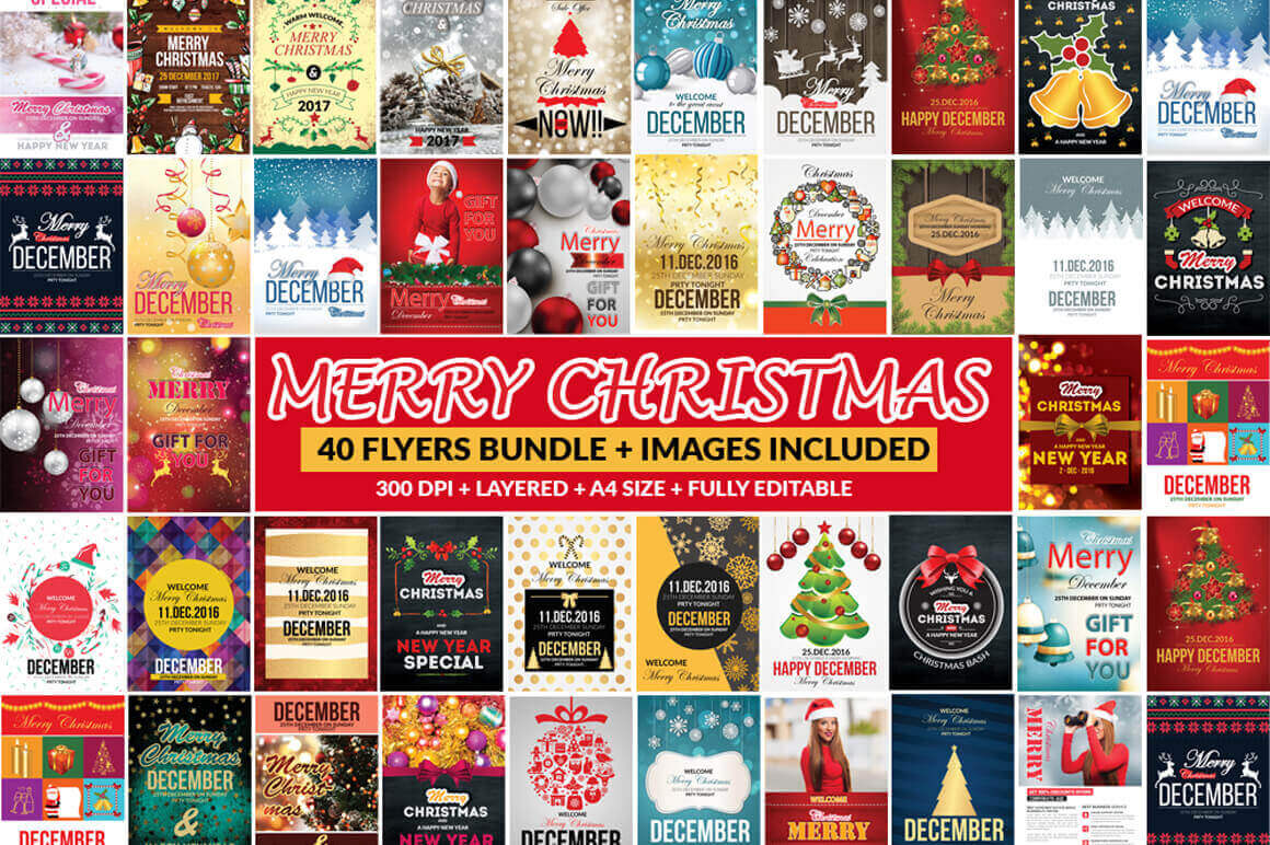 65 Customizable Christmas Templates (flyers, vouchers, timelines & postcards) – only $9
