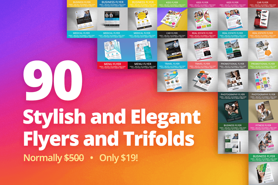90 Stylish and Elegant Flyers and Trifolds – only $19!
